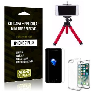 Kit iPhone 7 Plus Capa Silicone + Película de Vidro + Mini Tripé Flexível - Armyshield