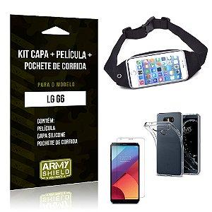 Kit LG G6 Capa Silicone + Película de Vidro + Pochete para Corrida - Armyshield