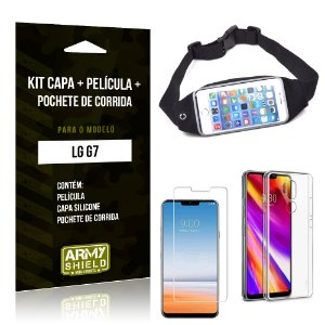Kit LG G7 Capa Silicone + Película de Vidro + Pochete para Corrida - Armyshield