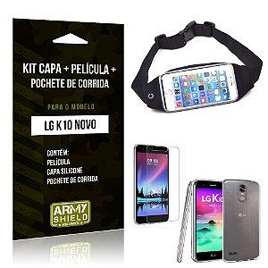 Kit LG K10 Novo Capa Silicone + Película de Vidro + Pochete para Corrida - Armyshield
