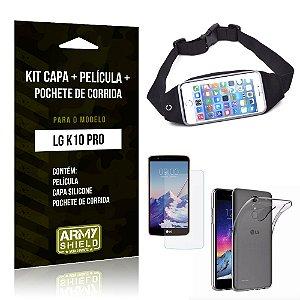 Kit LG K10 Pro Capa Silicone + Película de Vidro + Pochete para Corrida - Armyshield
