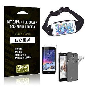 Kit LG K4 Novo Capa Silicone + Película de Vidro + Pochete para Corrida - Armyshield