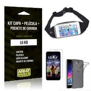 Kit LG K9 Capa Silicone + Película de Vidro + Pochete para Corrida - Armyshield