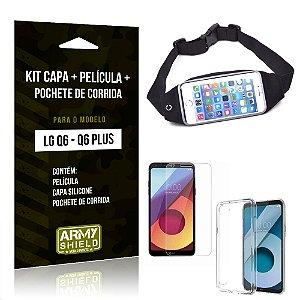 Kit LG Q6 - Q6 Plus Capa Silicone + Película de Vidro + Pochete para Corrida - Armyshield