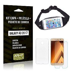 Kit Galaxy A3 (2017) Capa Silicone + Película de Vidro + Pochete para Corrida - Armyshield