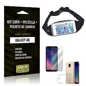 Kit Galaxy A6 Capa Silicone + Película de Vidro + Pochete para Corrida - Armyshield