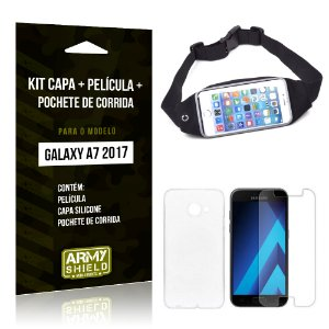 Kit Galaxy A7 (2017) Capa Silicone + Película de Vidro + Pochete para Corrida - Armyshield