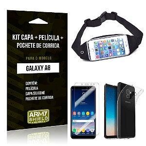 Kit Galaxy A8 Capa Silicone + Película de Vidro + Pochete para Corrida - Armyshield
