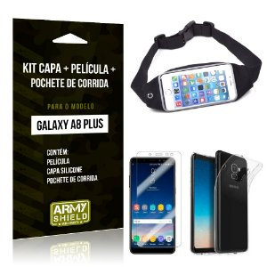 Kit Galaxy A8 Plus Capa Silicone + Película de Vidro + Pochete para Corrida - Armyshield