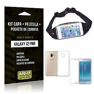 Kit Galaxy J2 Pro 2018 Capa Silicone + Película de Vidro + Pochete para Corrida - Armyshield