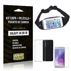 Kit Galaxy J4 (2018) Capa Silicone + Película de Vidro + Pochete para Corrida - Armyshield