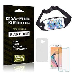 Kit Galaxy J5 Prime Capa Silicone + Película de Vidro + Pochete para Corrida - Armyshield
