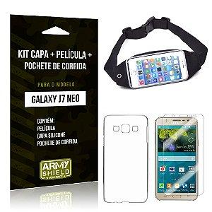 Kit Galaxy J7 Neo (2017) Capa Silicone + Película de Vidro + Pochete para Corrida - Armyshield