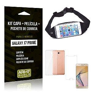 Kit Galaxy J7 Prime Capa Silicone + Película de Vidro + Pochete para Corrida - Armyshield