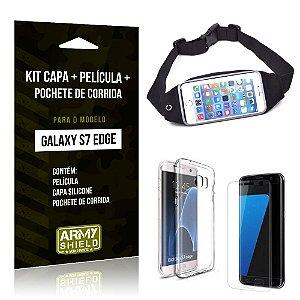 Kit Galaxy S7 Edge Capa Silicone + Película de Vidro + Pochete para Corrida - Armyshield