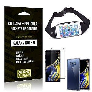 Kit Galaxy Note 9 Capa Silicone + Película de Vidro + Pochete para Corrida - Armyshield