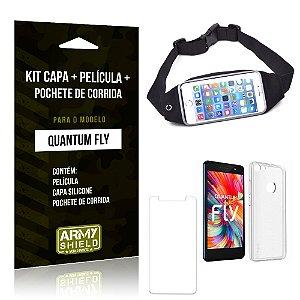 Kit Quantum Fly Capa Silicone + Película de Vidro + Pochete para Corrida - Armyshield