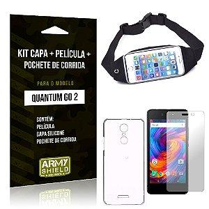 Kit Quantum Go 2 Capa Silicone + Película de Vidro + Pochete para Corrida - Armyshield