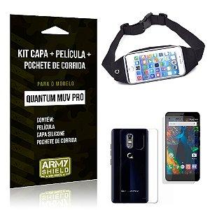 Kit Quantum Muv Pro Capa Silicone + Película de Vidro + Pochete para Corrida - Armyshield