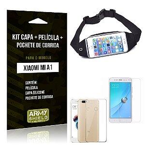 Kit Xiaomi Mi A1 Capa Silicone + Película de Vidro + Pochete para Corrida - Armyshield