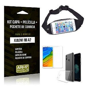 Kit Xiaomi Mi A2 Capa Silicone + Película de Vidro + Pochete para Corrida - Armyshield