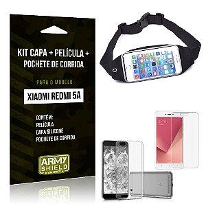Kit Xiaomi Redmi 5A Capa Silicone + Película de Vidro + Pochete para Corrida - Armyshield