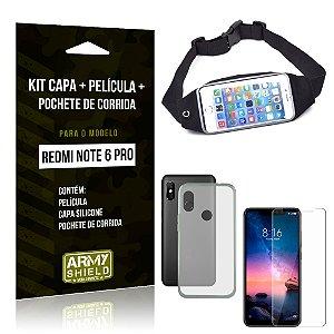 Kit Xiaomi Redmi Note 6 Pro Capa Silicone + Película de Vidro + Pochete para Corrida - Armyshield