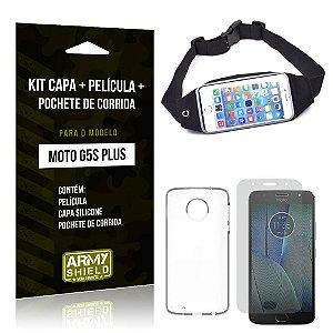 Kit Moto G5S Plus Capa Silicone + Película de Vidro + Pochete para Corrida - Armyshield