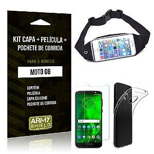 Kit Moto G6 Capa Silicone + Película de Vidro + Pochete para Corrida - Armyshield