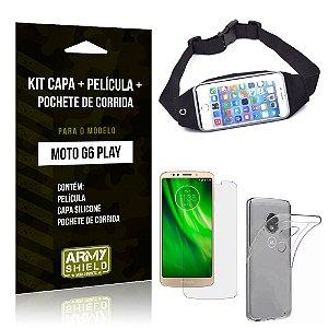 Kit Moto G6 Play Capa Silicone + Película de Vidro + Pochete para Corrida - Armyshield