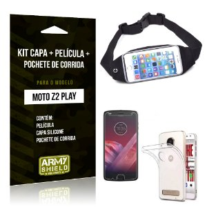 Kit Moto Z 2 Play Capa Silicone + Película de Vidro + Pochete para Corrida - Armyshield