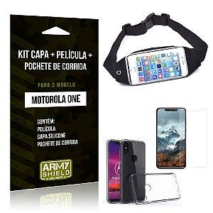 Kit Moto One Capa Silicone + Película de Vidro + Pochete para Corrida - Armyshield
