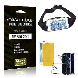 Kit Zenfone 3 - 5.2' ZE520KL Capa Silicone + Película Gel + Pochete para Corrida - Armyshield