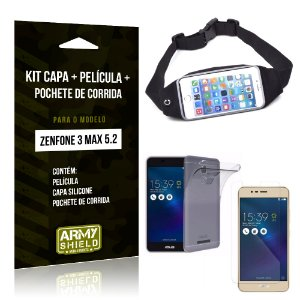 Kit Zenfone 3 Max - 5.2' ZC520TL Capa Silicone + Película Gel + Pochete para Corrida - Armyshield