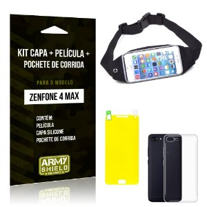 Kit Zenfone 4 Max - 5.5' ZC554KL Capa Silicone + Película Gel + Pochete para Corrida - Armyshield