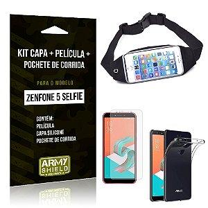 Kit Zenfone 5 Selfie ZC600KL Capa Silicone + Película Gel + Pochete para Corrida - Armyshield