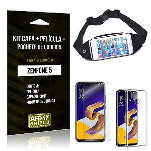 Kit Zenfone 5 ZE620KL Capa Silicone + Película Gel + Pochete para Corrida - Armyshield
