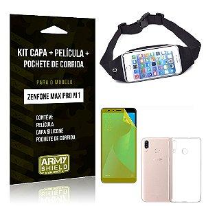 Kit Zenfone Max Pro M1 ZB602KL Capa Silicone + Película Gel + Pochete para Corrida - Armyshield