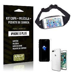 Kit iPhone 8 Plus Capa Silicone + Película de Vidro + Pochete para Corrida - Armyshield