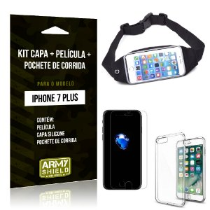 Kit iPhone 7 Plus Capa Silicone + Película de Vidro + Pochete para Corrida - Armyshield