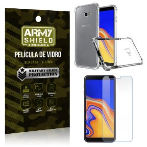 Kit Capa Anti Shock + Película Vidro Galaxy J4 Plus - Armyshield