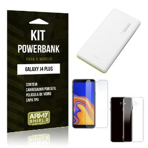 Kit Powerbank Galaxy J4 Plus Powerbank + Película + Capa - Armyshield