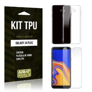 Kit Capa Silicone Galaxy J4 Plus Película + Capa - Armyshield