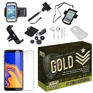 Kit Gold Galaxy J4 Plus com 8 Acessórios - Armyshield