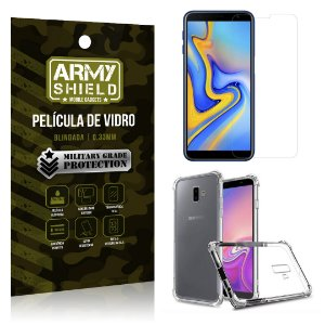 Kit Capa Anti Shock + Película Vidro Galaxy J6 Plus - Armyshield