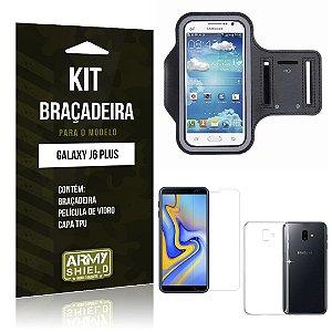 Kit Braçadeira Galaxy J6 Plus Braçadeira + Película + Capa - Armyshield
