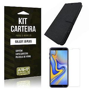 Kit Capa Carteira Galaxy J6 Plus Capa Carteira + Película - Armyshield