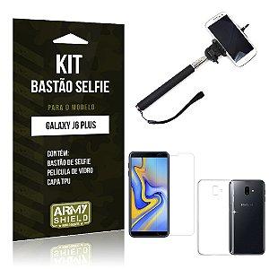 Kit Bastão Selfie Galaxy J6 Plus Bastão + Película + Capa - Armyshield