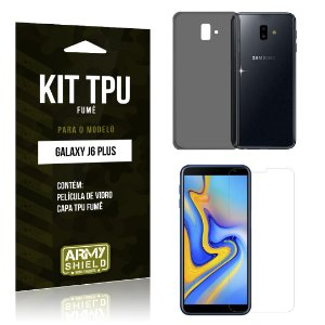 Kit Capa Fumê Galaxy J6 Plus Película + Capa Fumê - Armyshield