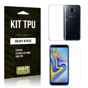 Kit Capa Silicone Galaxy J6 Plus Película + Capa - Armyshield